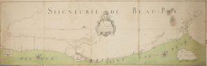Plan cadastral en couleurs montrant les lots de la seigneurie de Beaupré depuis la rivière Montmorency jusqu'à la rivière du Gouffre. Le fleuve Saint-Laurent est représenté en vert au bas du plan, qui inclut aussi l'île aux Coudres.