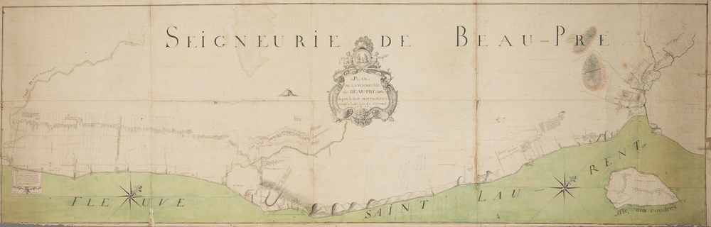 Colour cadastral plan showing the seigneurial lots in the Beaupré Seigneury, from the Montmorency River all the way to the Gouffre River. The St. Lawrence River can be seen in green at the bottom of the map, which includes Île aux Coudres.