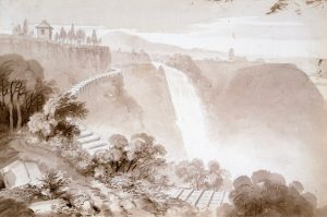 Reproduction of a brown wash-over-pencil drawing depicting the top of the Montmorency Falls in the background, as well as the cliff and the natural surroundings. A wooden penstock carrying water runs along the edge of the cliff.