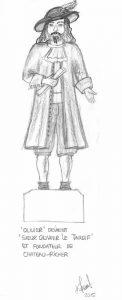 Dessin sur papier à la mine de plomb représentant un homme barbu habillé d'un costume d'époque comme imaginé par l'artiste. Debout sur un socle et représenté de face, il porte un chapeau aux larges bords surmonté d'une plume, une chemise à jabot, un long manteau ouvert sur le devant, des hauts-de-chausse qui se terminent sous le genou, des bas blancs et des souliers. Il tient un rouleau de papier dans sa main droite.