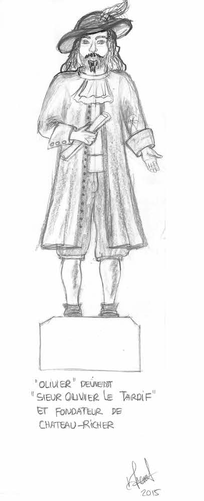 Graphite-on-paper drawing of a bearded man dressed in period costume, as imagined by the artist. It depicts the frontal view of a man standing on a pedestal. He is wearing a wide-brimmed, feather-topped hat; a ruffled shirt; a long frockcoat open at the front; breeches; white stockings; and shoes. He is holding a roll of parchment in his right hand.