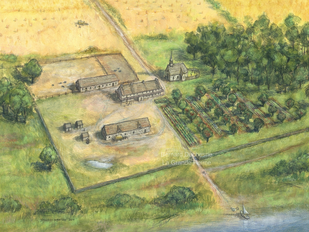Colour drawing showing the various buildings at La Grande Ferme, including the main house, barn, stable, and church. It also depicts the gardens and an orchard as well as trees scattered around the property and several heads of cattle. There is a fence running around the entire farm.
