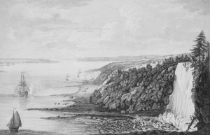Gravure montrant la bataille de Montmorency vue à partir de l'est. On aperçoit, à la gauche, sur le fleuve, des navires tirant des coups de canon. À droite se trouvent la chute Montmorency ainsi que la falaise boisée. En contrebas, on peut voir des soldats en formations rectangulaires.