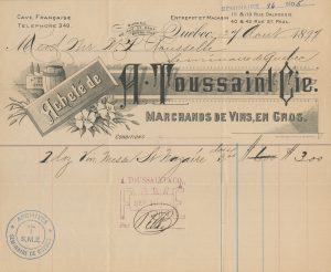 Archival document detailing a transaction between A. Toussaint & Cie wine wholesalers and Séminaire de Québec. The document attests that three dollars was paid in exchange for two dozen bottles of St-Nazaire sacramental wine.