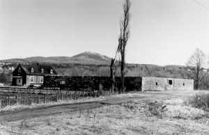 Black and white photo showing the remains of a stone building, with little more than the lower part of the walls still standing. Behind the ruins is a house, and in front stands a tree bare of leaves. In the background we can see a mountain.