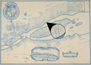 "Archival map depicting part of the City of Québec (including Charlesbourg and Beauport), the Côte-de-Beaupré region, Île d'Orléans, the south shore of the St. Lawrence River, and the rectangular plots of land running perpendicular to the river. The circle in the centre of the map features a blow-up of the lot bearing the name ""F. Vero"" as well as several adjacent lots."