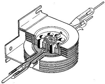 A cut-away line drawing of a magnetron. Magnetron's uses electrons to generate microwaves. Their frequency is determined by the cavities dimensions.