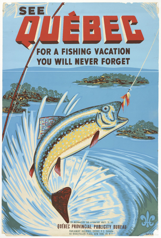 This ad portrays Québec as a top destination for an unforgettable fishing trip. The drawing shows a fish that has taken the bait.
