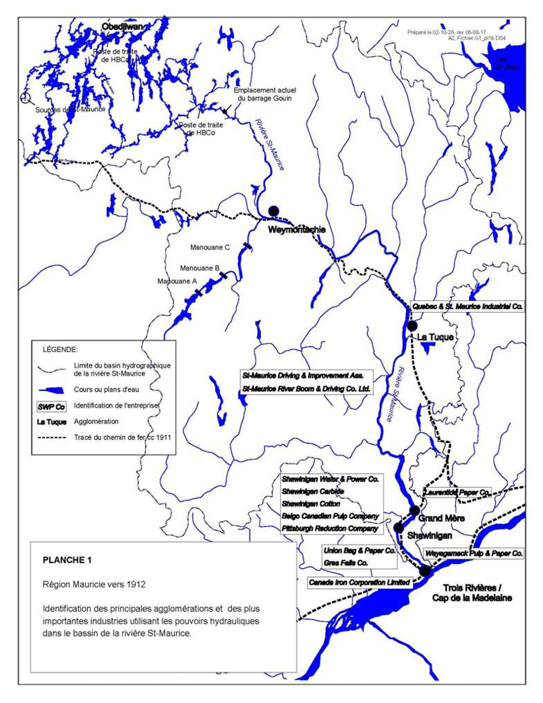 The map shows the Saint-Maurice drainage basin and identifies the railway route as well as the many industries located in the region, including Canada Iron Corporation in Trois-Rivières, Belgo in Shawinigan, and Québec & St. Maurice Industrial Company in La Tuque.