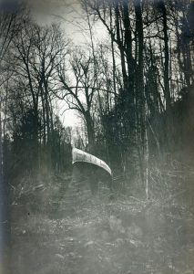 Un homme porte un canot sur ses épaules au milieu de la forêt.