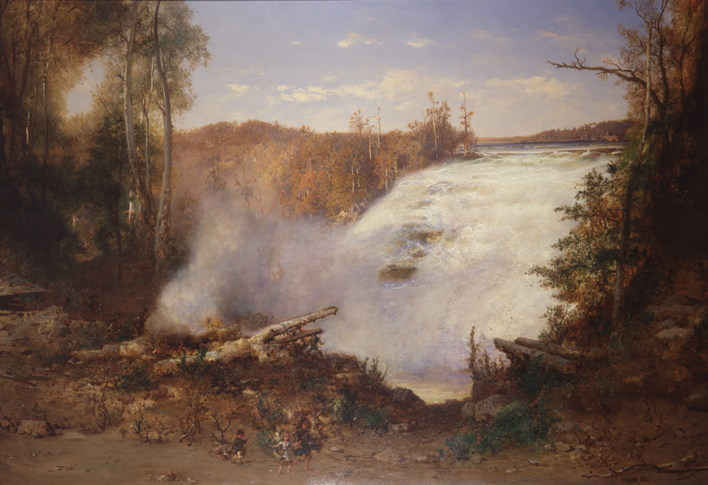 Three children play in the foreground of this painting that is eclipsed by the falls and the forest.
