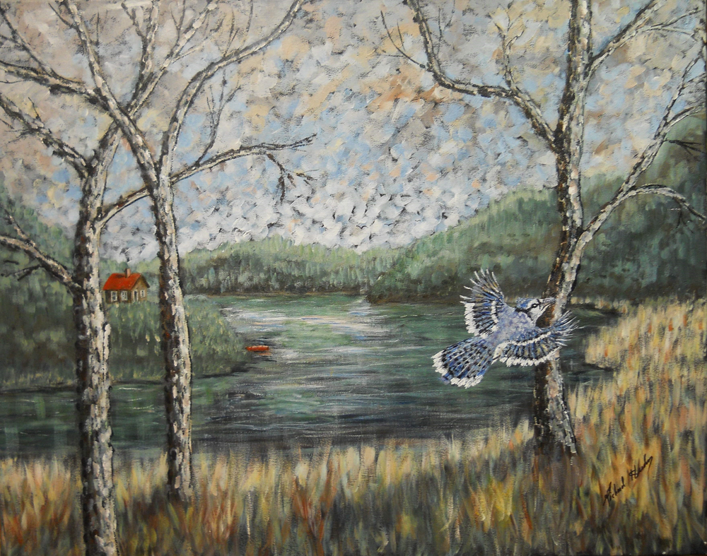 This impressionist-style painting depicts a blue jay flying in front of the river.
