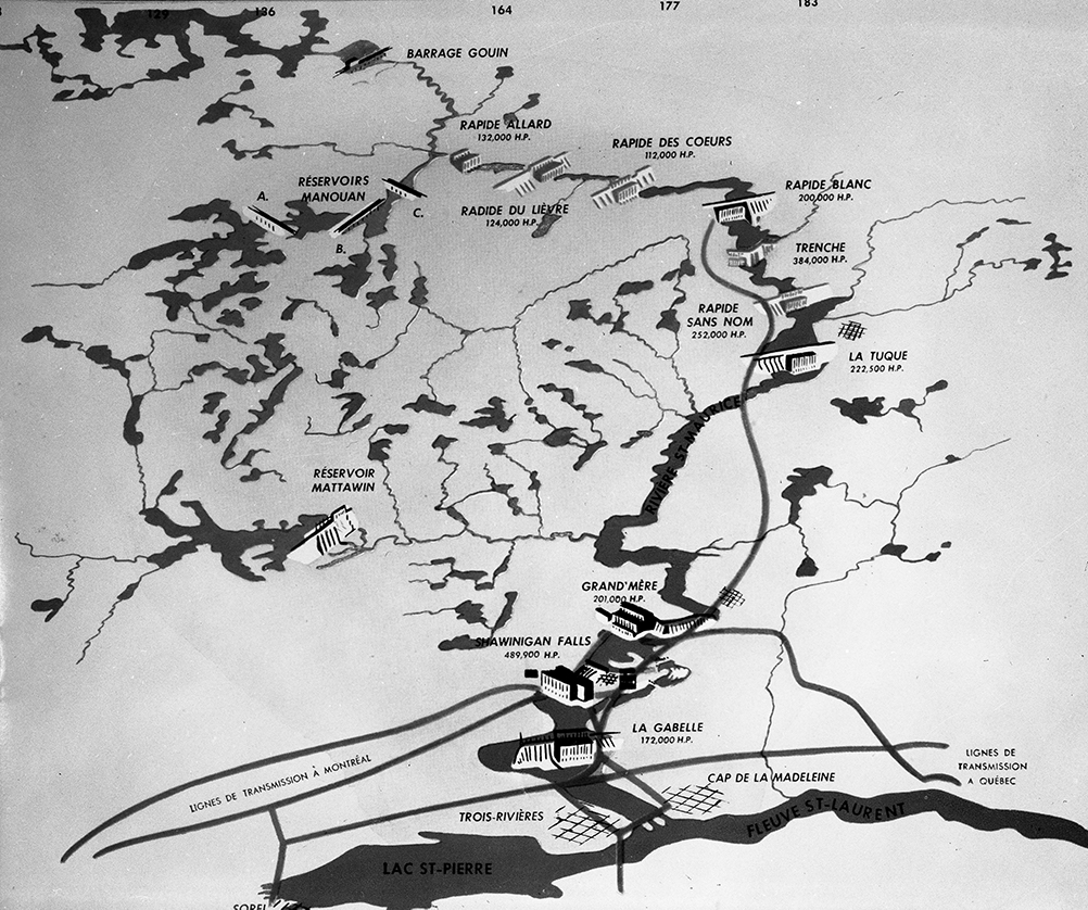 Map showing the power plants built on the Saint-Maurice River, from LaGabelle in the south to the Gouin Dam in the north. Eleven power plants are spread along the river.