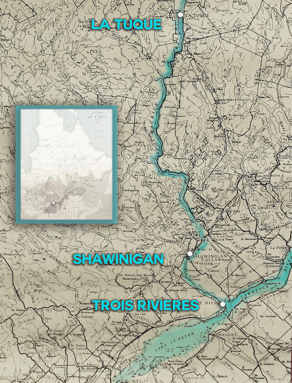 Map illustrating the long distance between La Tuque, Shawinigan, and Trois-Rivières, which is located at the confluence of the Sainte-Maurice and the St. Lawrence rivers.