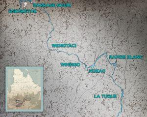 Carte géographique illustrant le très dense réseau hydrographique et les principaux lieux habités de la Haute-Mauricie : La Tuque, Rapide Blanc, Windigo, Wemotaci et le Barrage Gouin au nord. On retrouve aussi l'emplacement de points de rencontres Atikamekw : Kokac et Oskisketak.
