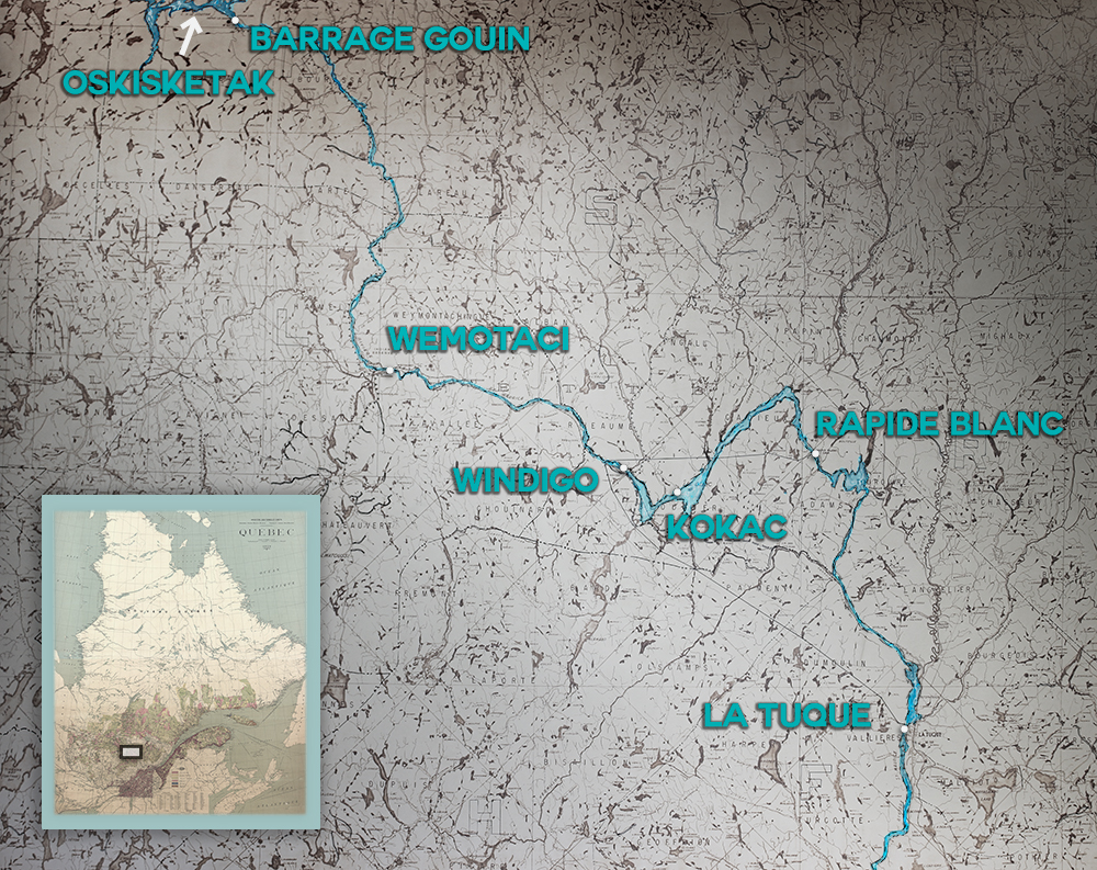 Geographical map illustrating the very dense hydrographic network and the main inhabited places of Haute-Mauricie: La Tuque, Rapide Blanc, Windigo, Wemotaci and the Gouin Dam to the north. We also can see the location of Atikamekw meeting points: Kokac and Oskisketak