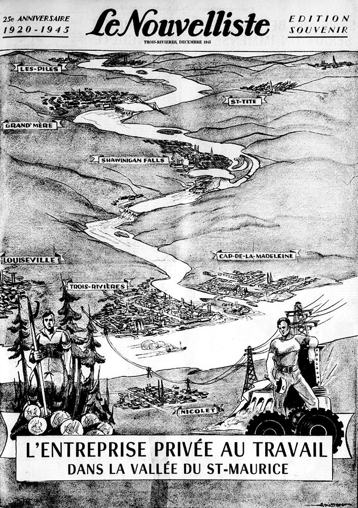 Front page of the Le Nouvelliste paper on its 25th anniversary in 1945. The drawing represents the Saint-Maurice valley, from the Piles in the north to the mouth of the river in the south. Several cities are depicted in the drawing, including Grand-Mère, Shawinigan Falls, Trois-Rivières and Cap-de-la-Madeleine. A driver and an energy worker are also drawn.