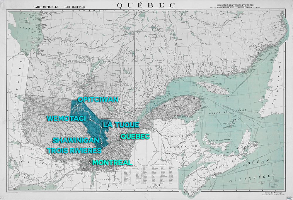 Map illustrating the river's route from Opitciwan to Trois-Rivières, passaging through Wemotaci, La Tuque and Shawinigan. The map also locates the river in relation to Québec City, 130 kilometres further east