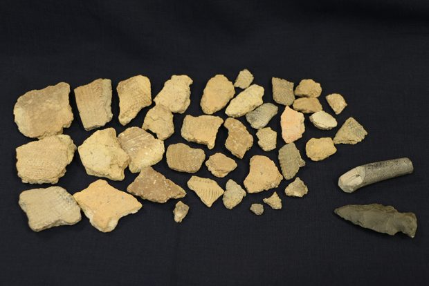 Indigenous artefacts displayed on a black background. In the lower right-hand corner, there is an arrowhead and a grey ceramic pipe fragment. On the left are 20-some beige and grey pottery shards with a zigzag pattern.