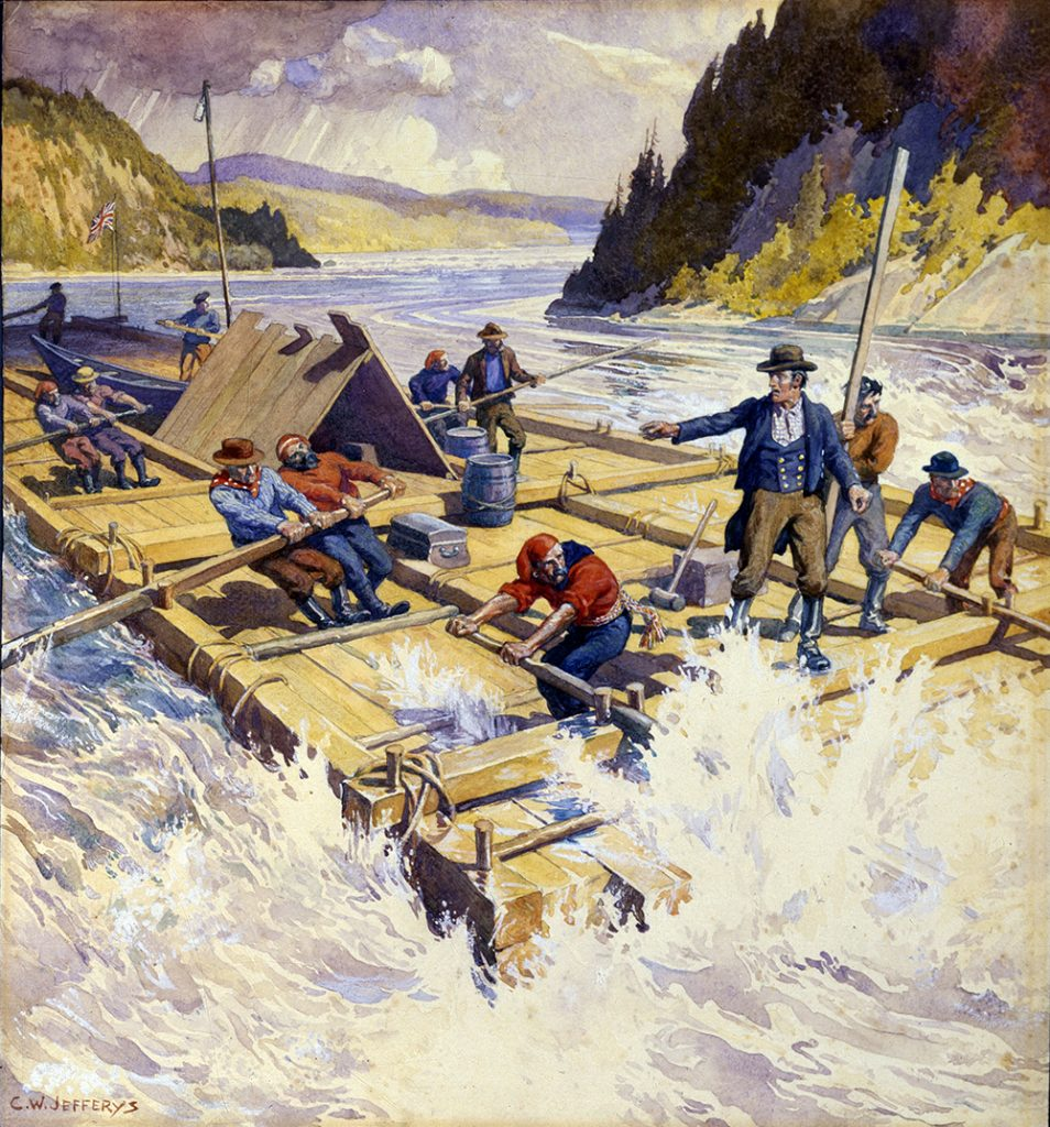 Watercolour of a raft made of squared timber on a river with strong rapids. A number of men are rowing, directed by a man in charge.