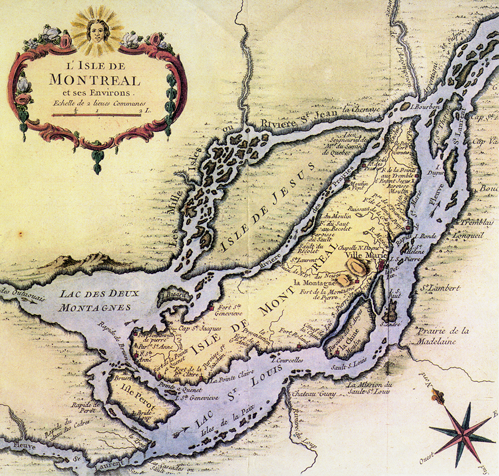 An old map tinted yellow and lavender featuring Île Jésus and the Island of Montreal. In the top left-hand corner, there is a cartouche (decorative box) containing the title. A compass rose appears in the lower right-hand corner.
