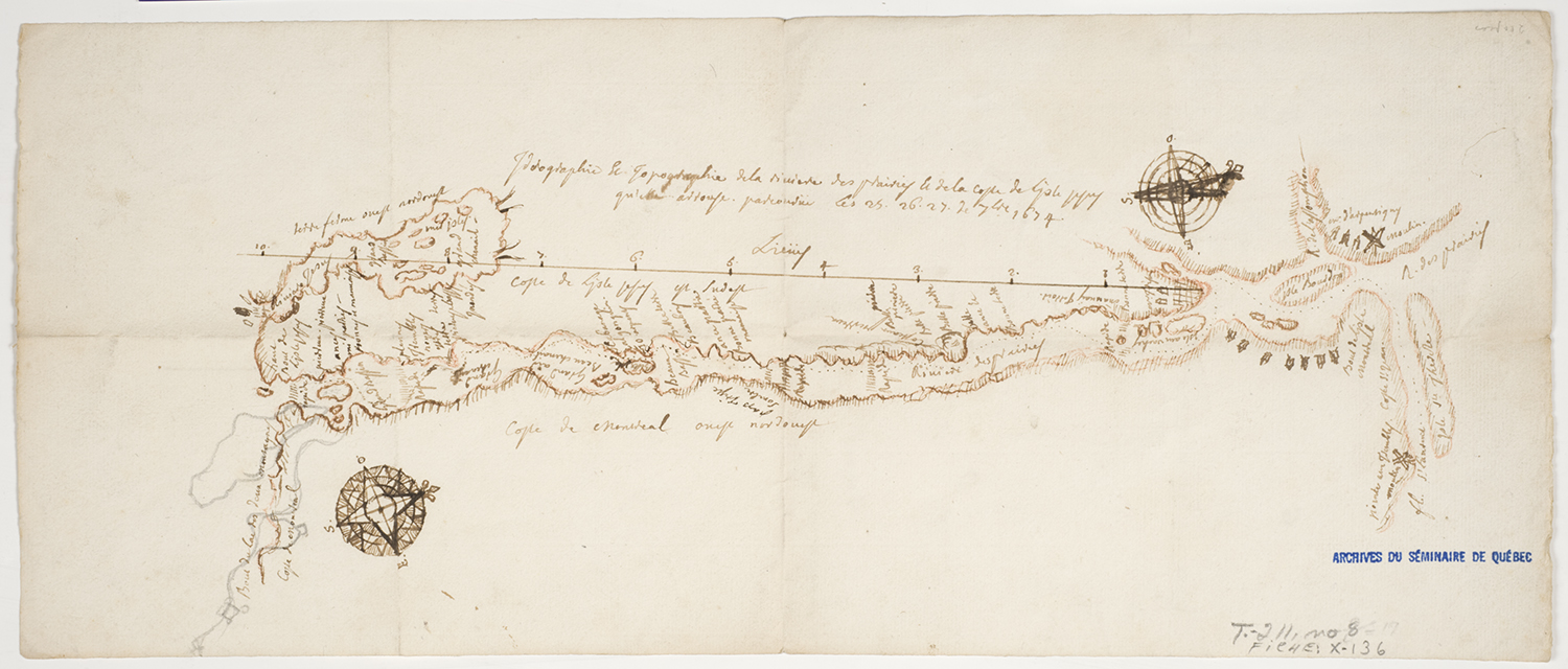 Hand-drawn map of the south shore of Île Jésus in 1674. The paper is yellowed and the ink is beige. Locations and Algonquin sites are noted, and there is a compass rose on either end.