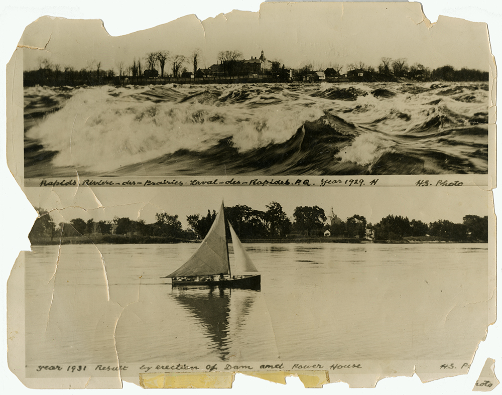 Two black and white photographs of the Des Prairies River. The top picture shows the rough rapids in 1929. The bottom one features a sailboat on the calm river after the dam was built in 1931.