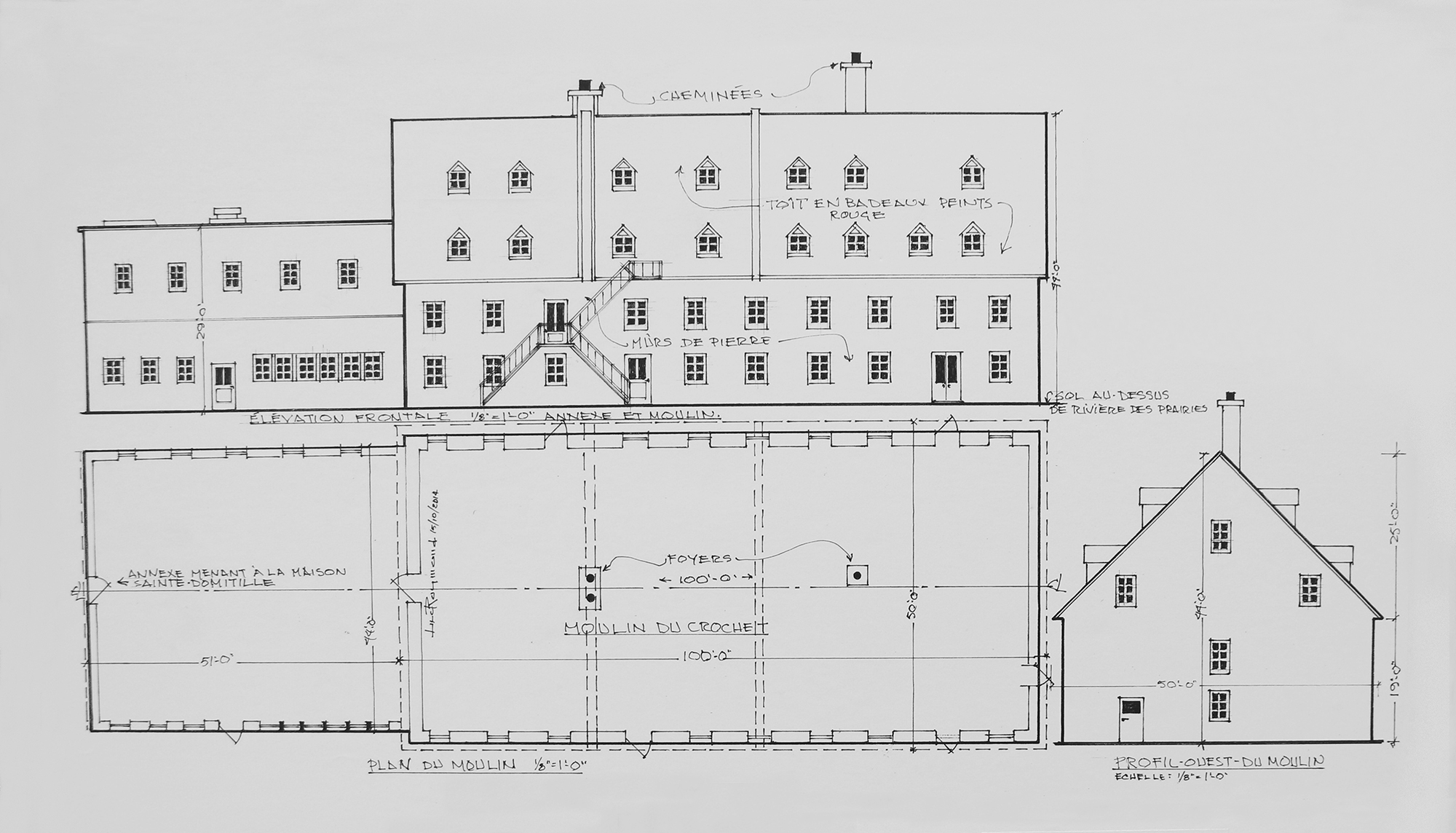 Black and white pencil drawing of a mill, with a plan of the mill and a drawing of the mill seen from the side.