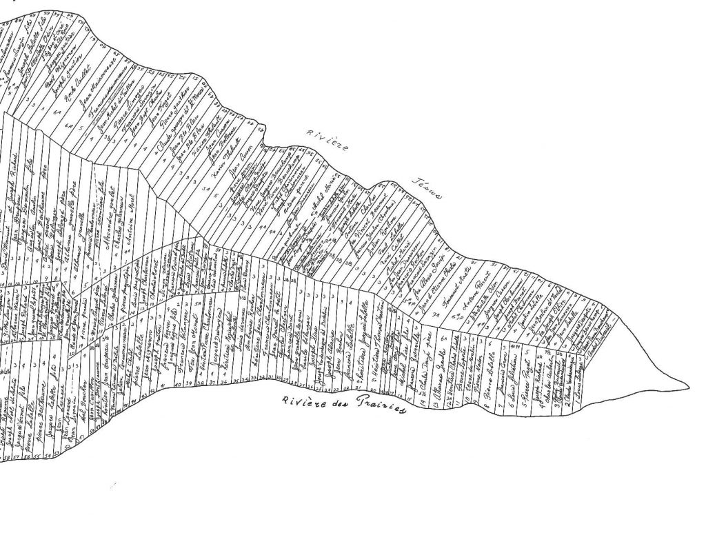 Black and white map featuring long rectangular lots. The owners' names are written inside each one.