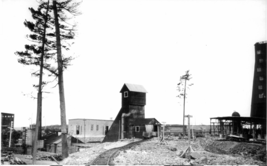 Black-and-white photography of a rudimentary railway with some trees and several buildings.