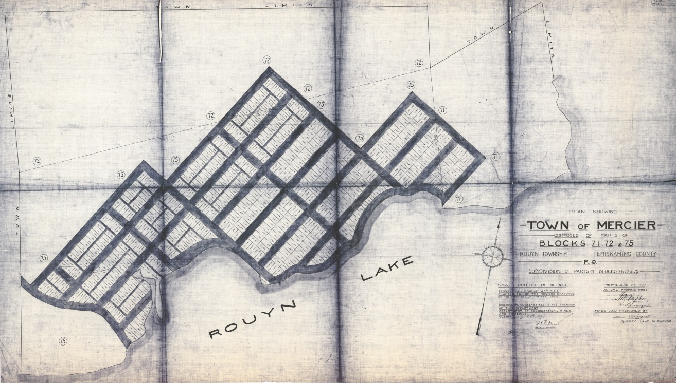 Black-and-white map showing the city limits as well as about 15 streets that were supposed to be constructed.