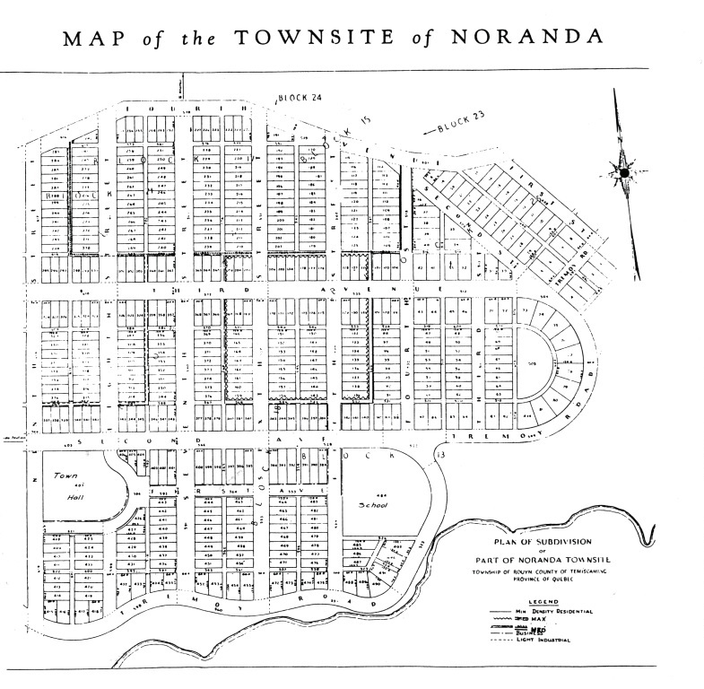 Black-and-white map of the soon-to-be city of Noranda. The streets and the lots are rectilinear.