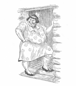 Black-and-white drawing of an obese woman in a floral dress standing in the doorway of a log cabin.