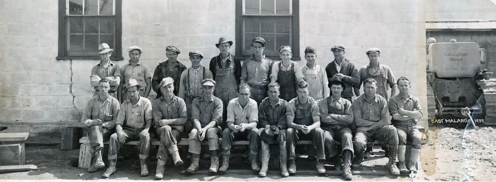 Picture of a group of miners from the East Malartic Mine in 1939