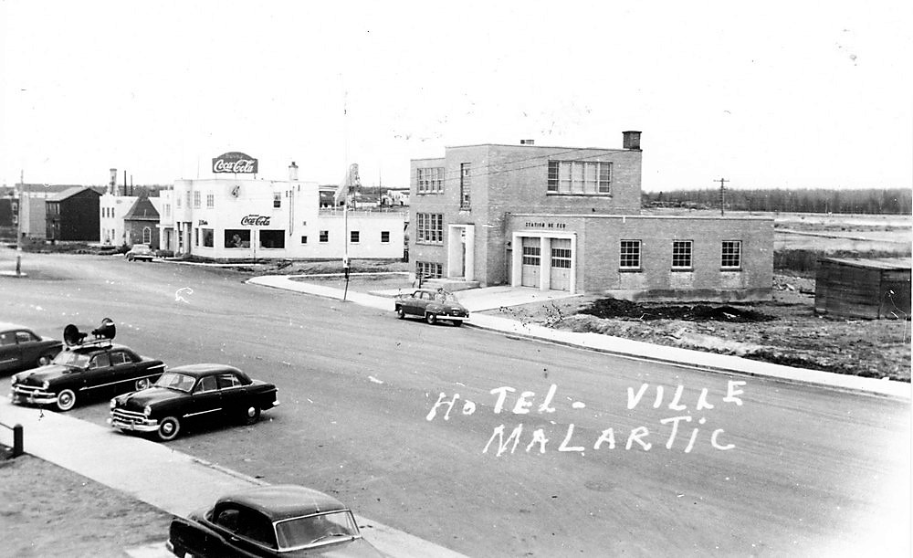 City Hall of Malartic and Coca-Cola bottling plant in 1952