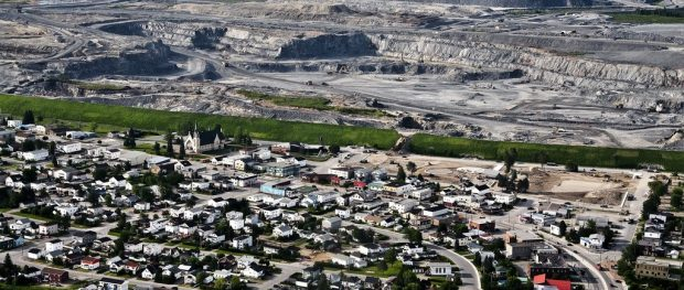 Town of Malartic and the Canadian Malartic open-pit mine.