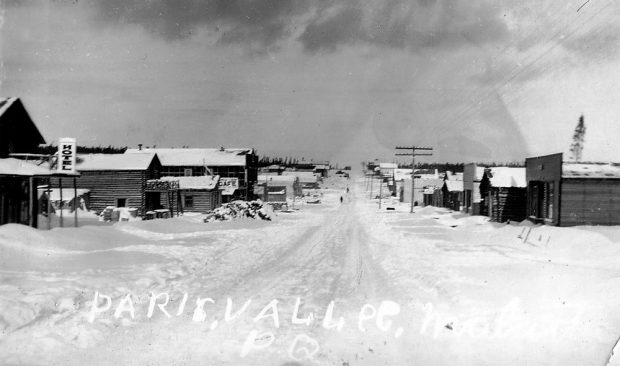 Main street of Roc-d'Or in winter in the beginnig of the 1940s