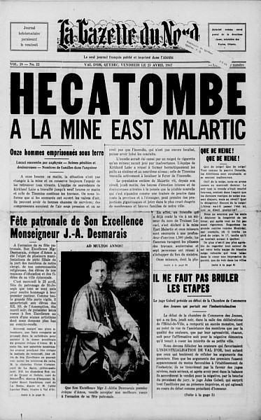 "Edition of the weekly newspaper ""La Gazette du Nord"" announcing the tragedy that occurred at the East Malartic mine on April 24, 1947."