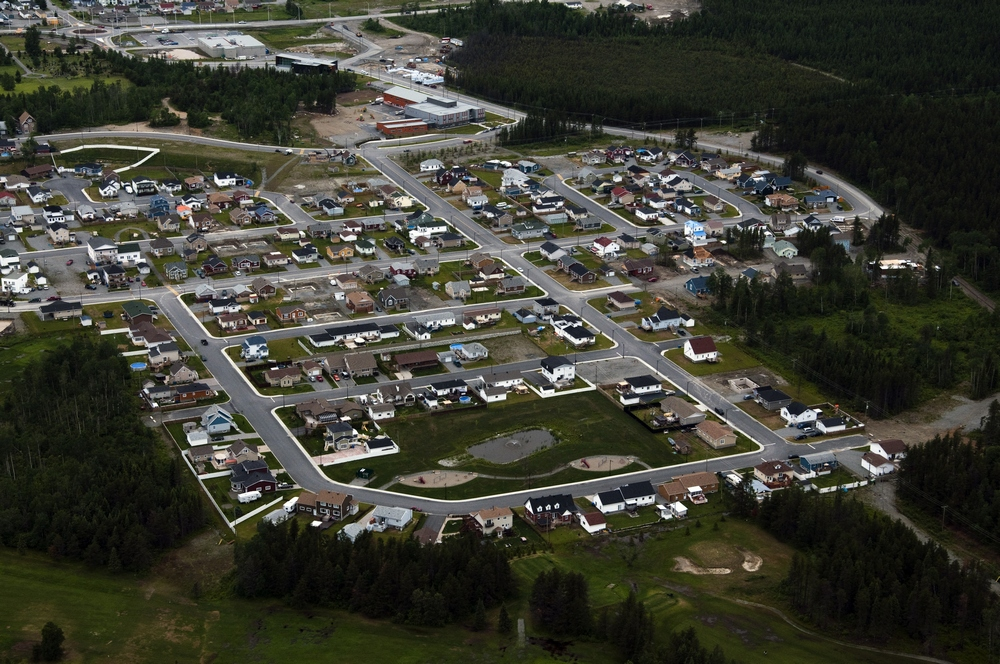 Arial view of the new northen district of Malartic (2009)