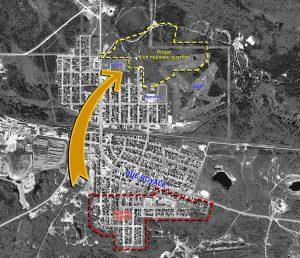 Plan de la ville de Malartic montrant la relocalisation du quartier sud en 2008-2009