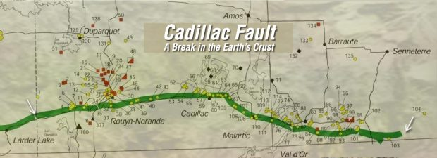 A map showing part of the Cadillac Fault located in Abitibi-Témiscamingue