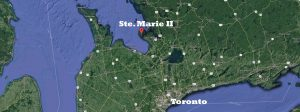 Colour google map of Southern Ontario with Ste Marie II and Toronto outlined in white letters.