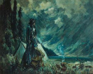 Painting of woman next to tent, campfire and trees, wearing rain wear, holding saddle.
