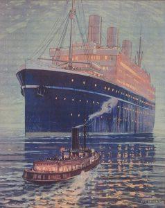 Watercolour painting of ship at night and tug boat moving towards ship.