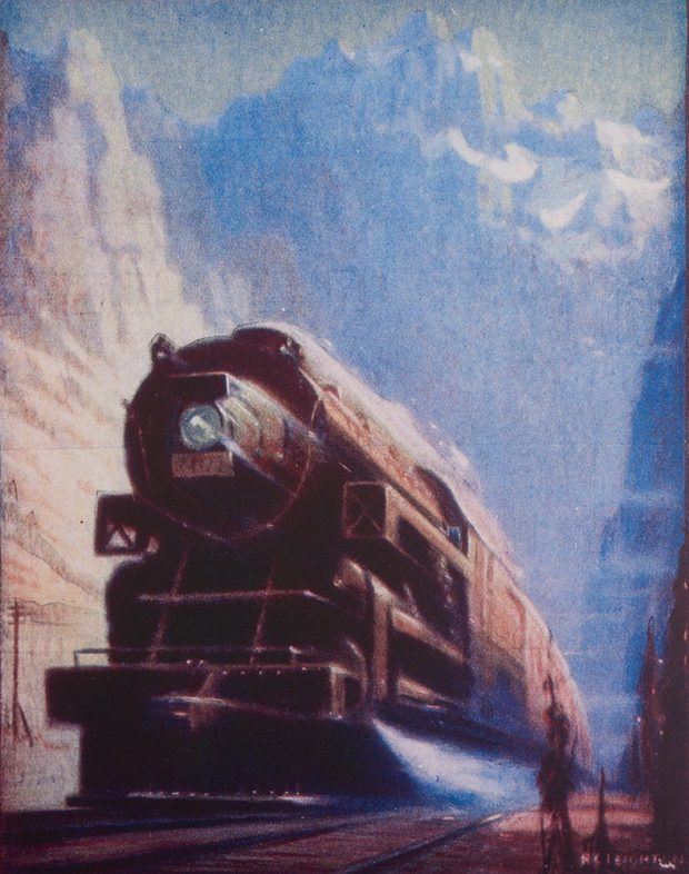 Pastel drawing of a locomotive speeding through mountain landscape.