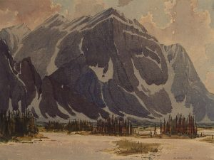 Watercolour painting of mountain with trees and water in foreground.