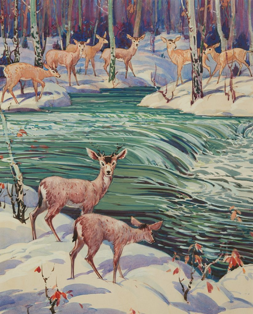 Gouache painting of a herd of deer in a wintery forest on either side of a running river.