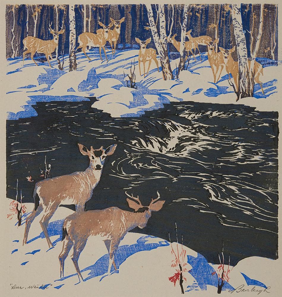Estampe d'un troupeau de cerfs dans une forêt hivernale de part et d'autre d'une rivière.