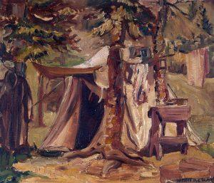 Peinture à l'huile d'une tente entre les arbres, avec du linge accroché au loin.