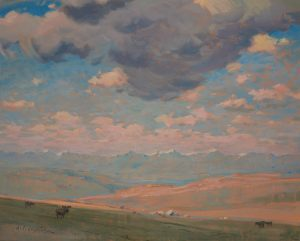 Oil painting of prairie landscape with mountains and a dramatic cloudy but blue sky in distance; small animals and buildings in mid ground.